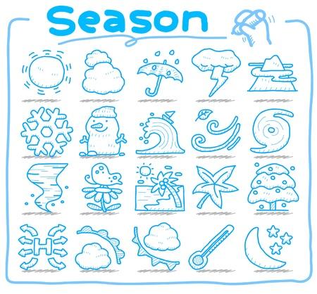 Temporada dibujado mano, conjunto de iconos de tiempo Foto de archivo - 10585367