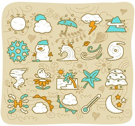 hand drawn season,weather icon set Vector