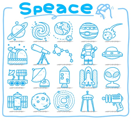 space station: hand draw Universe ,space icon set. Planets solar system icon set