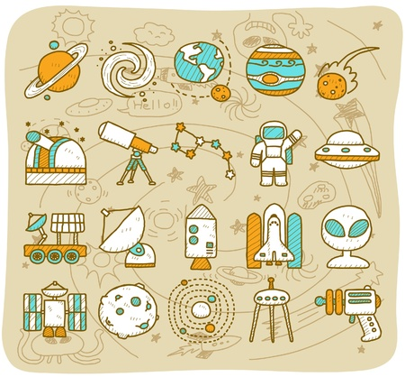 telescopes: hand draw Universe ,space icon set. Planets solar system icon set