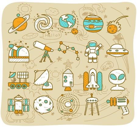 fernrohr: Hand zeichnen Universum, Raum icon set. Planets Solaranlage icon set