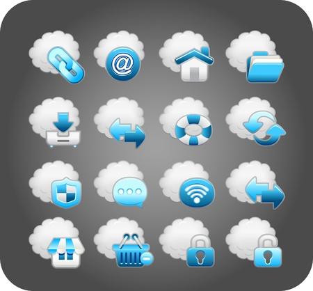 opfrissen: bedrijfsleven, cloud computing, netwerk, icon set