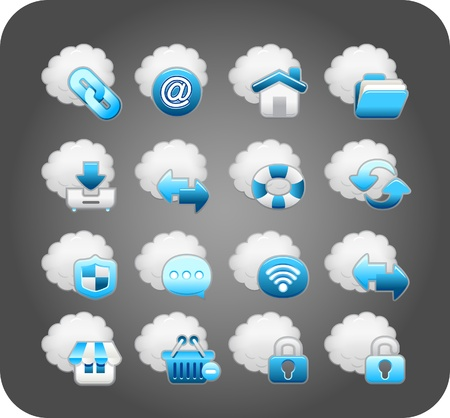 ilustration and painting: business,cloud computing,network,icon set