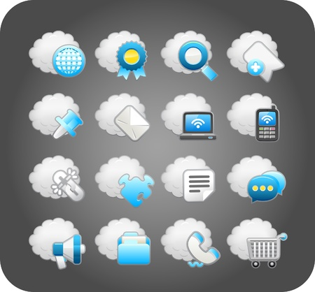cloud storage: business,cloud computing,network,icon set