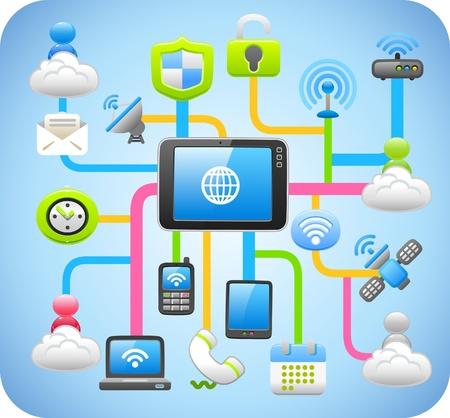 dienstverlening: Tablet PC, cloud computing-, netwerk-concept van Stock Illustratie