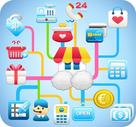 ilustration and painting: shopping,cloud computing,network concept