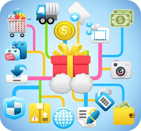 group travel: shopping,cloud computing,network concept