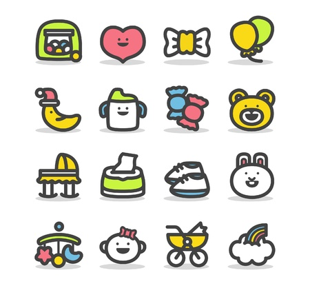 newborn baby girl: Baby icon set
