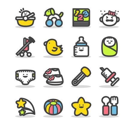 baby biberon: Set di icone del bambino Vettoriali