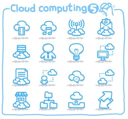 compartiendo: la nube de computaci�n, comunicaci�n, conjunto de iconos de red