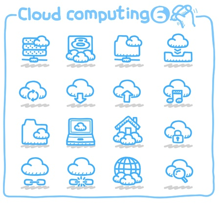 cloud computing, communicatie, netwerk-icon set Stock Illustratie