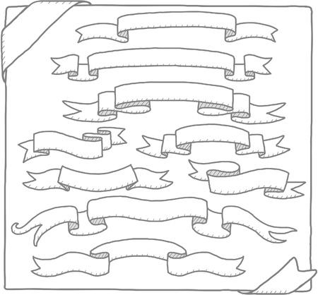 parchment texture: Hand drawn nastri, raccolta banner