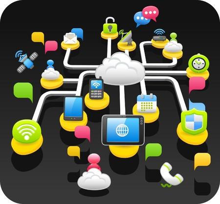 태블릿 PC, 무선, 클라우드 컴퓨팅, 통신 개념