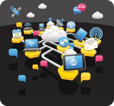 smart: Tablet pc's, draadloze, cloud computing, communicatie concept