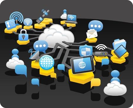 kommunikation: Tablet PC, trådlös, cloud computing, kommunikationskoncept