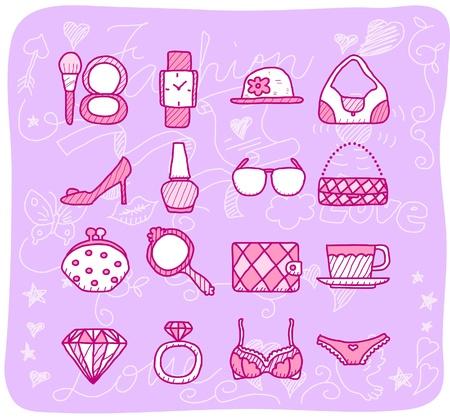 decorative accessories: fashion,beauty accessory icon set Illustration