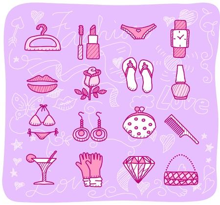 hand bra: fashion,beauty accessory icon set Illustration