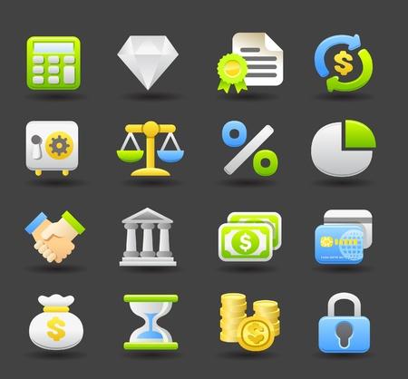 Banca, finanzas, negocios, conjunto de iconos de dinero Foto de archivo - 10739893