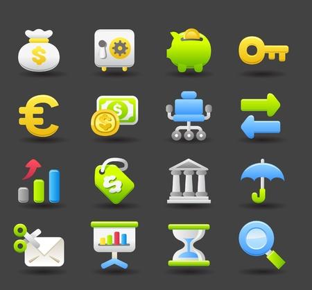 Banca, finanzas, negocios, conjunto de iconos de dinero Ilustración de vector