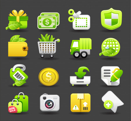 cart cash: shopping business travel icon set