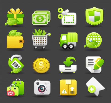 winkelen, business, reizen icon set
