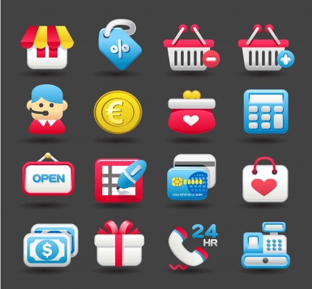 convenient store: shopping,business,travel icon set