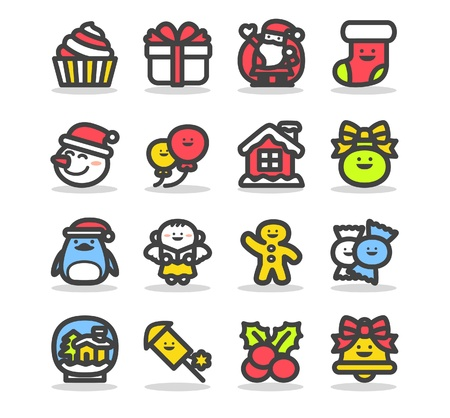 christmas cake: illustration - set of christmas icons