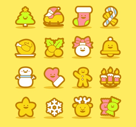 gingerbread cookies: illustration - set of christmas icons