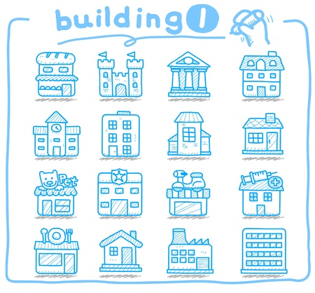 guidepost: hand drawn european houses, buildings,store ,travel icons,