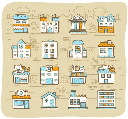 hand drawn european houses, buildings,store ,travel icons, Stock Vector - 10777823