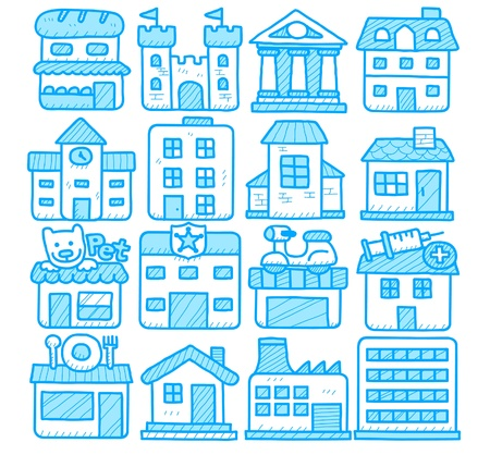 city live: hand drawn european houses, buildings,store ,travel icons,