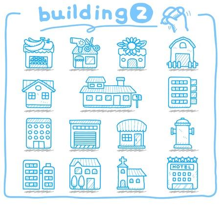 Dibujado a mano Casas de Europa, edificios, tiendas, iconos de viajes, Foto de archivo - 10777816