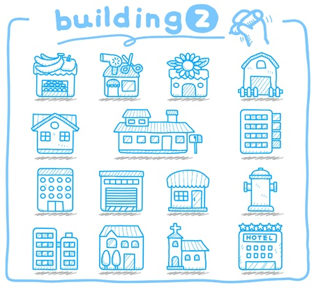 building fire: hand drawn european houses, buildings,store ,travel icons,