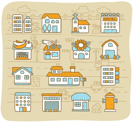 hand drawn european houses, buildings,store ,travel icons, Vector