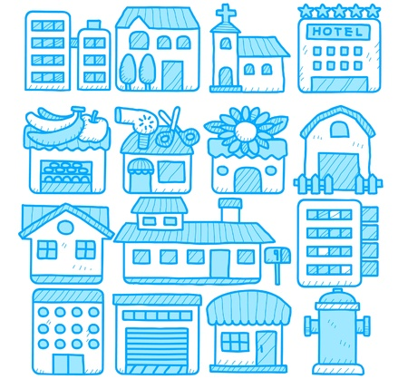 hand drawn european houses, buildings,store ,travel icons, Stock Vector - 10777819