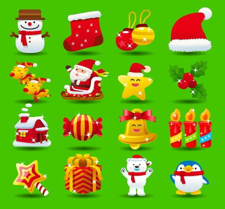 christmas,santa clause,xmas icon set Vector
