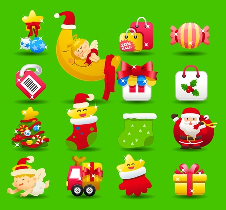 christmas,santa clause,xmas icon set Stock Vector - 10777815