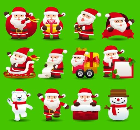 estrella caricatura: Navidad, santa clause, icono xmas set