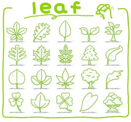 손으로 그린 잎, 나무, 에코 아이콘