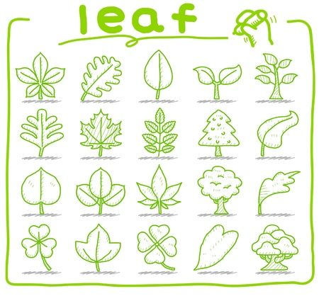 hand drawn leaf ,tree,eco icons Vector