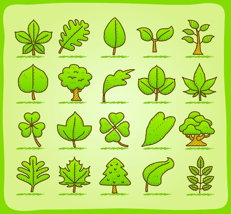 hand drawn leaf ,tree,eco icons Stock Vector - 10777821