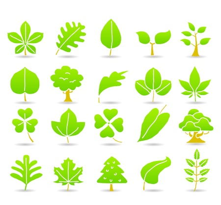 hand drawn leaf ,tree,eco icons Stock Vector - 10777812