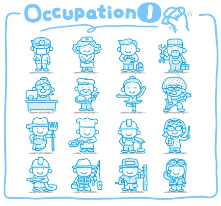 hand drawn: Hand drawn occupation,business,job,worker,people icon set Illustration