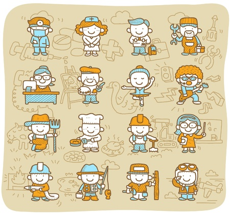 farmer sign: Hand drawn occupation,business,job,worker,people icon set Illustration