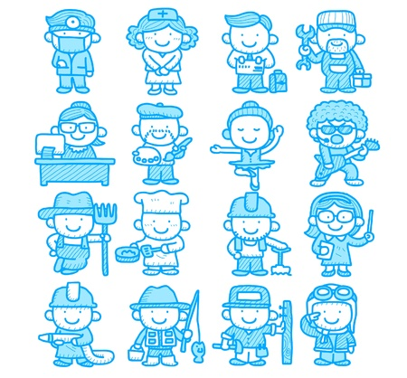 team worker: Hand drawn occupation,business,job,worker,people icon set Illustration