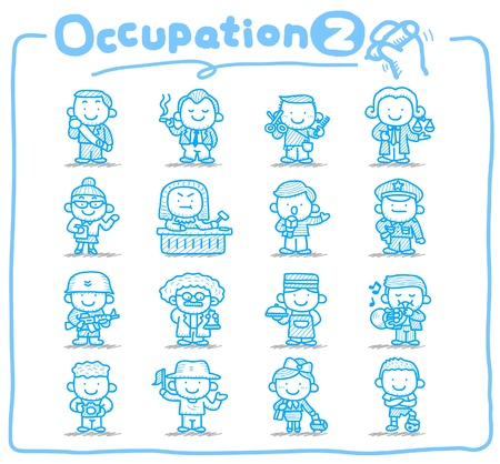 hairstylist: Hand drawn occupation,business,job,worker,people icon set Illustration