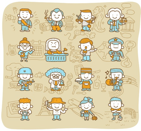 tour guide: Hand drawn occupation,business,job,worker,people icon set