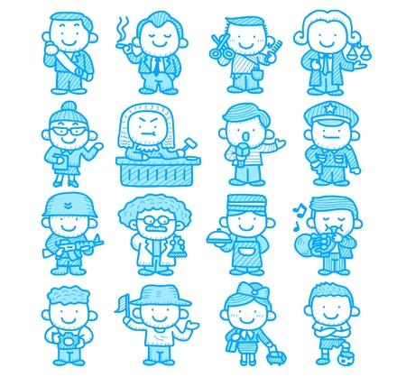 Mano dibujada ocupación, negocio, trabajo, trabajador, conjunto de iconos de personas Foto de archivo - 10777826