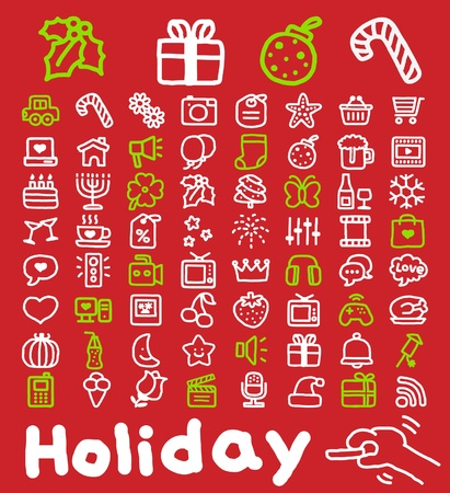 Hand drawn Holidays,xmas icon set Stock Vector - 10807067