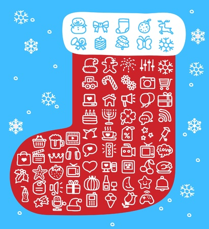 Hand drawn Holidays,xmas icon set Stock Vector - 10807069